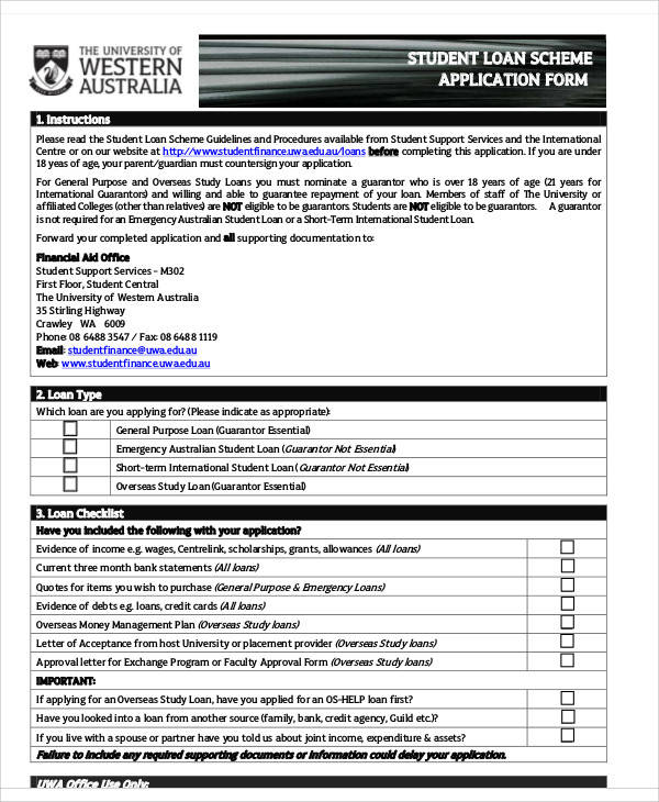 Application Form Samples – Students Loan Application Form