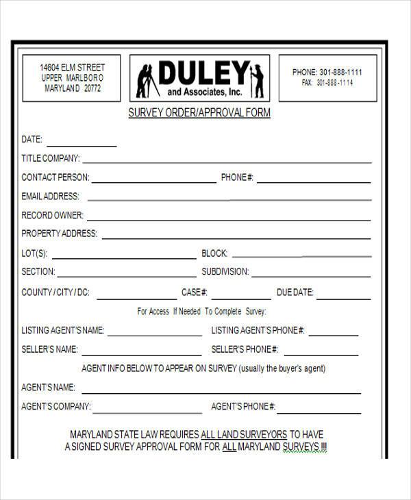 location survey order form
