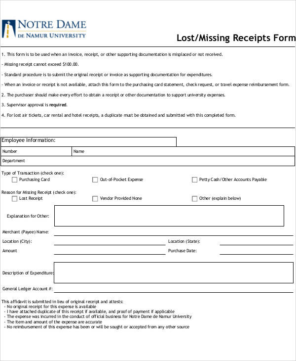 lost missing receipt form