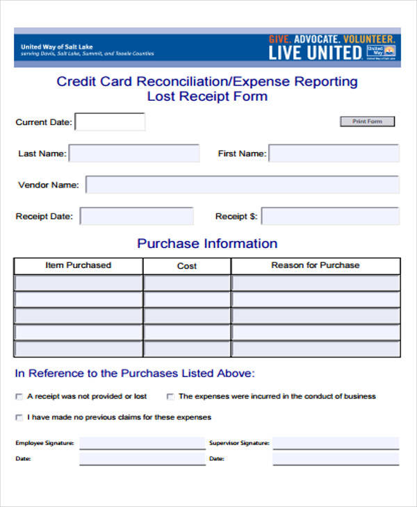 39 sample receipt forms sample templates lost receipt expense form thecheapjerseys Images