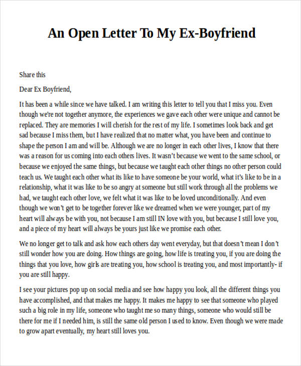 letter to ex boyfriend for closure 36 letter examples sample templates 23199