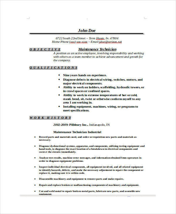 maintenance technician functional resume