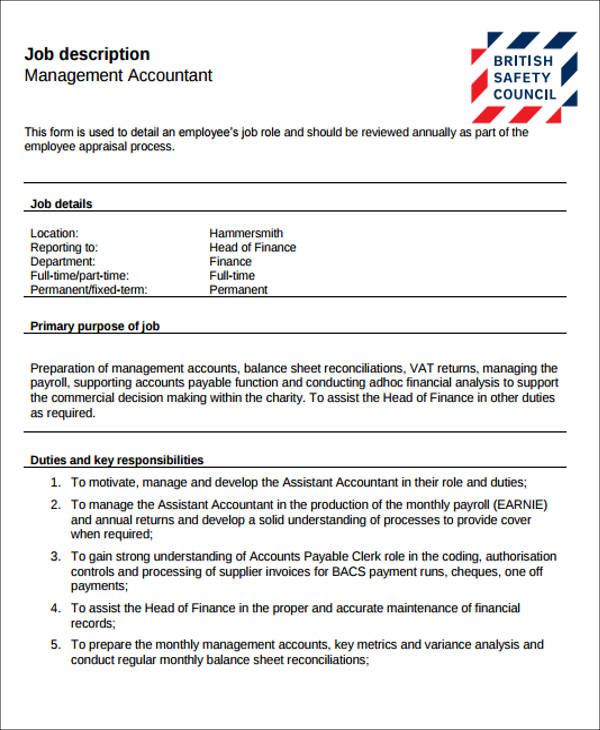 management accountant job description
