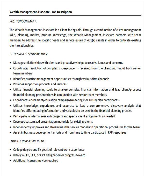 management associate job description