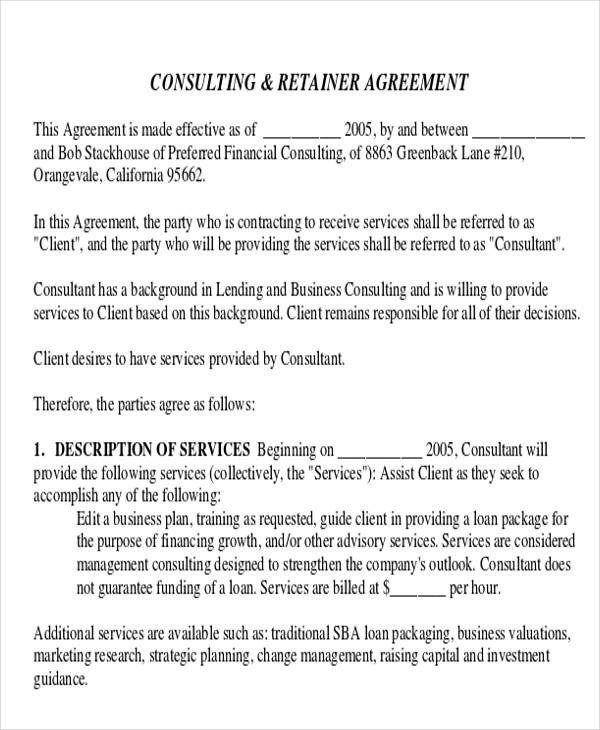 management consulting client agreement
