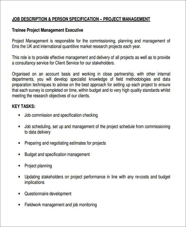 management executive job description