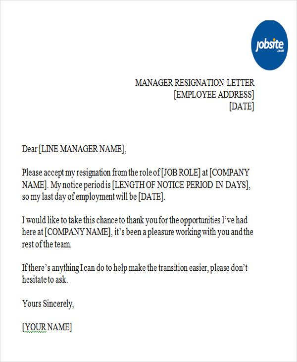 manager position resignation letter