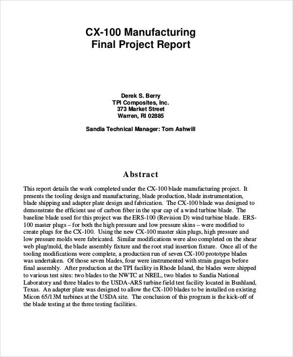 Sample Manufacturing Project Report   Examples In Pdf Word