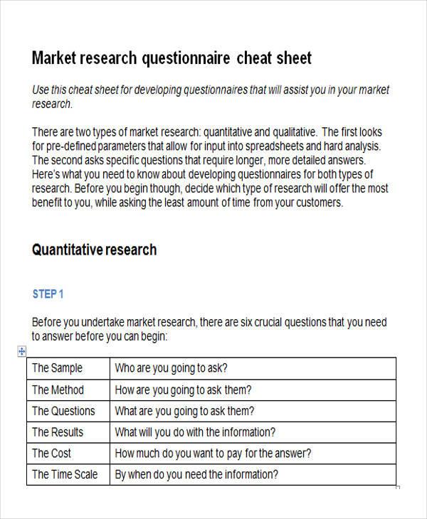 market questionnaire survey form