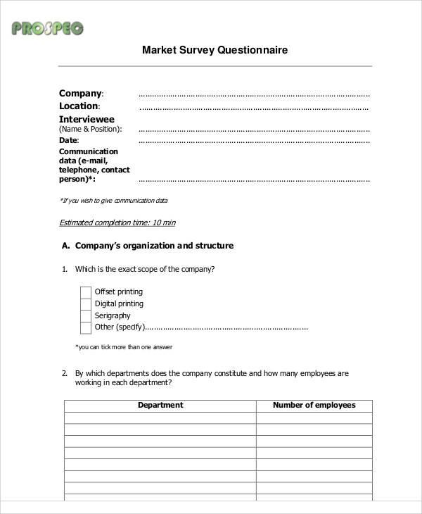 market survey questionnaire form