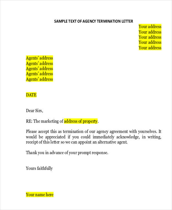 marketing agency termination letter