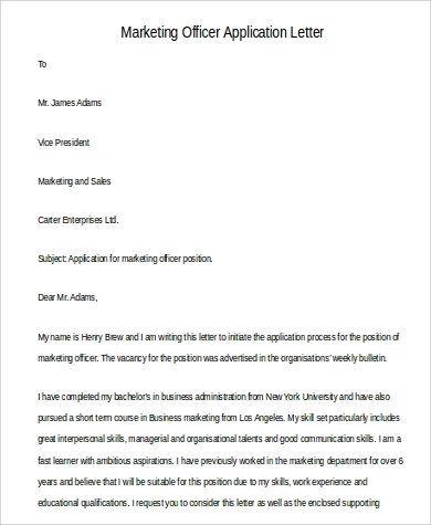 marketing officer application letter