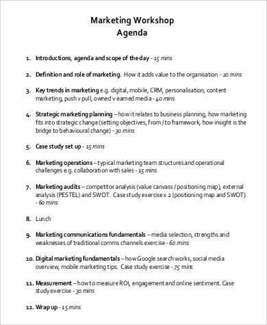 marketing workshop agenda