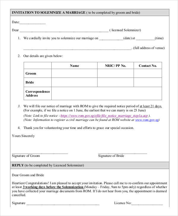 marriage invitation letter form