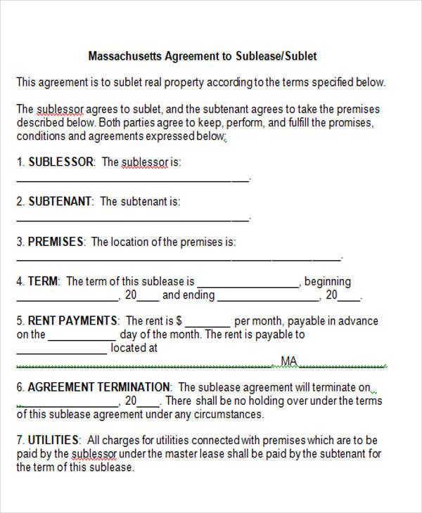 massachusetts agreement to sublease