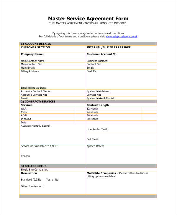 Basic Agreement Forms Sample Templates - Monthly service agreement template