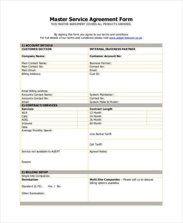 Customer Service Agreement Template
