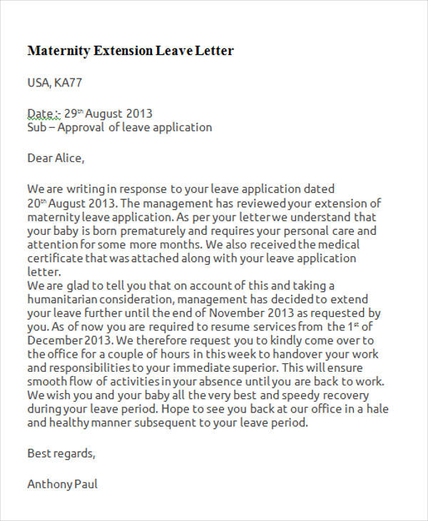 example of maternity leave letter to employer