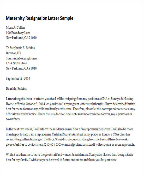 Sample Maternity Resignation Letter - 5+ Examples In Pdf, Word