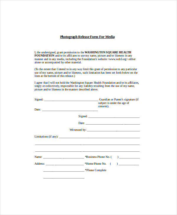 media photo release form
