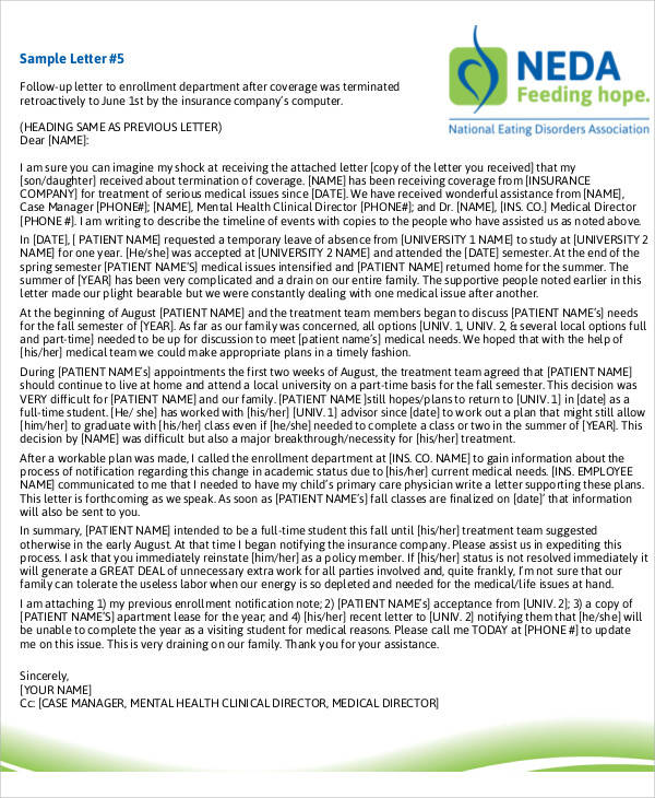 medical aid termination letter sample