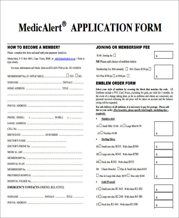 medical alert application form1