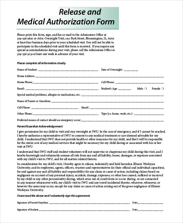 Printable Release Forms – Medical Authorization Release Form