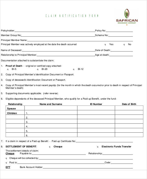 medical claim notification form