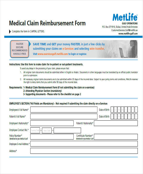 medical claim reimbursement form