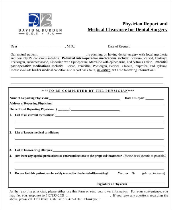 medical clearance form for dental 50  Sample Medical Forms | Sample Templates