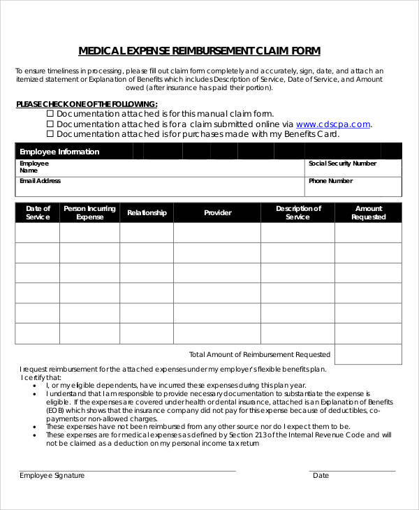 medical expense reimbursement claim form