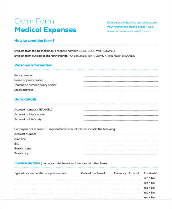 medical expenses claim form