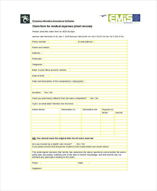 medical expenses claim form1