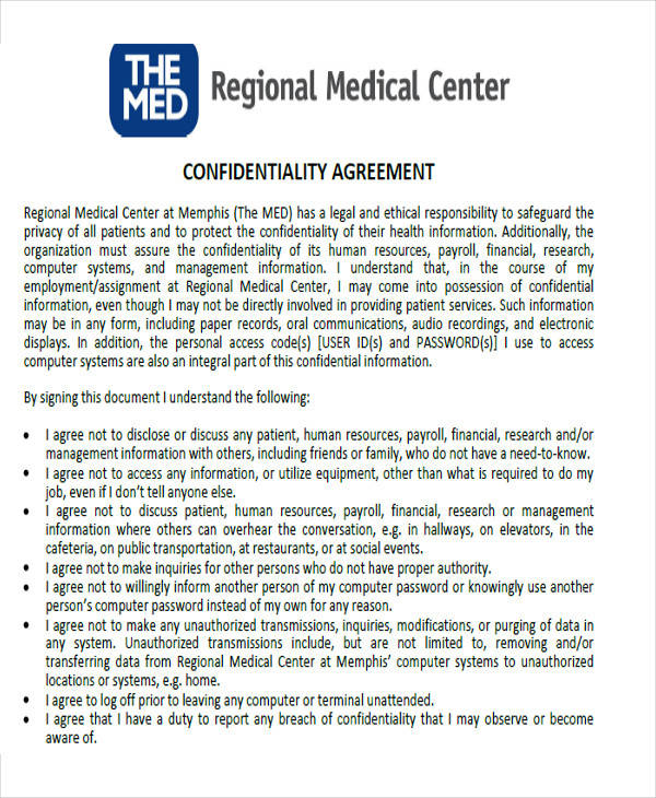 medical facility confidentiality agreement