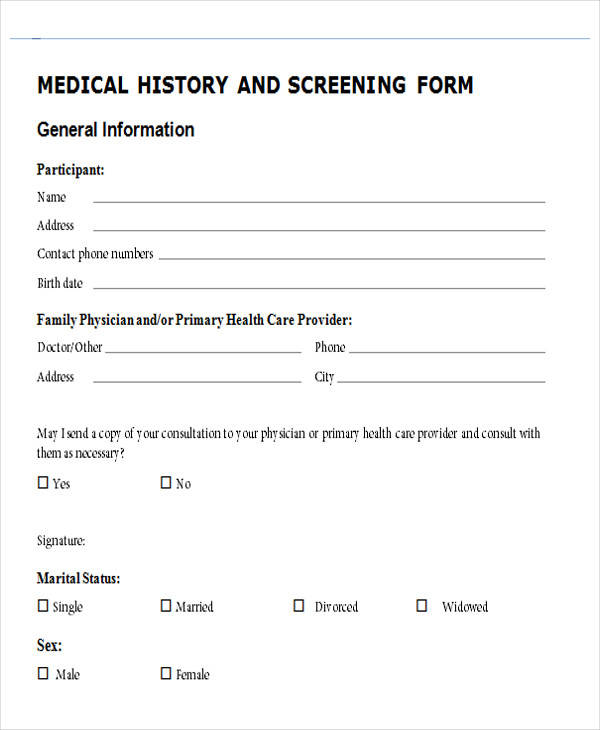 medical family history form