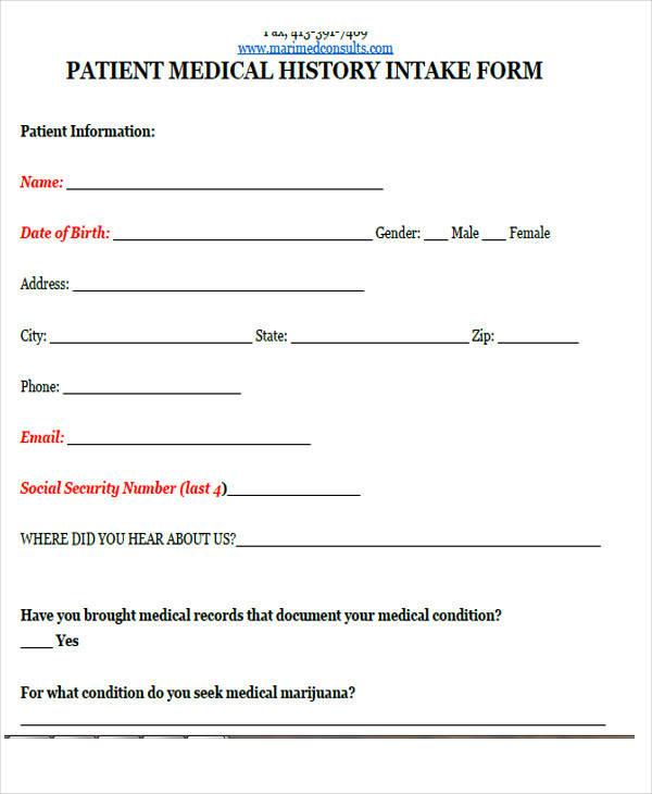 medical history intake form