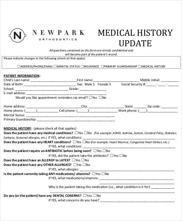 Medical History Update Form