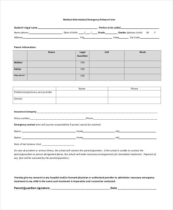 Printable Release Form Samples  Templates  Pdf Doc