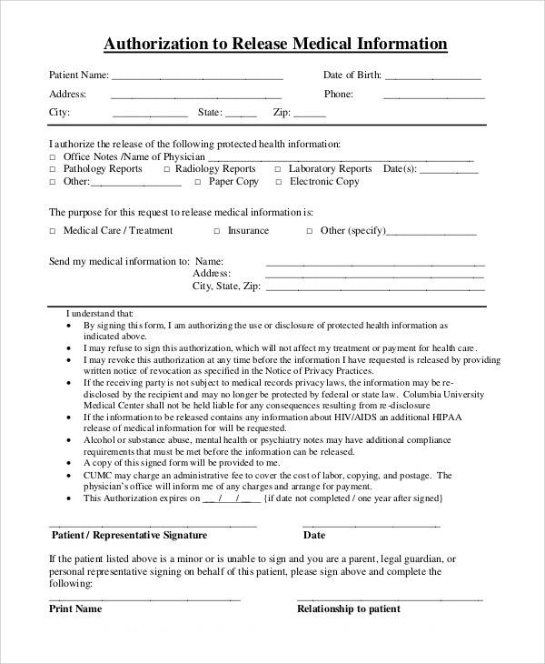 Medical Information Release Form Medical Information Release Form