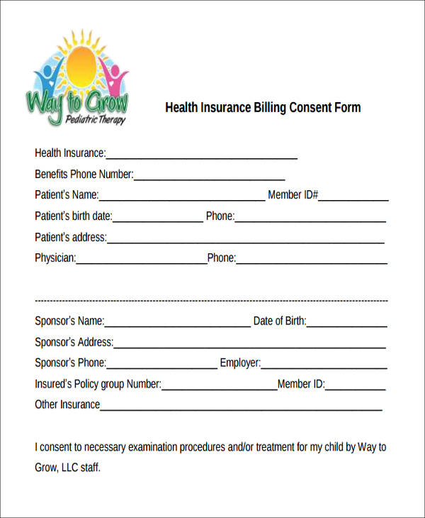 medical insurance billing consent form