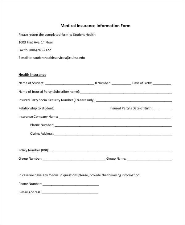 medical insurance information form