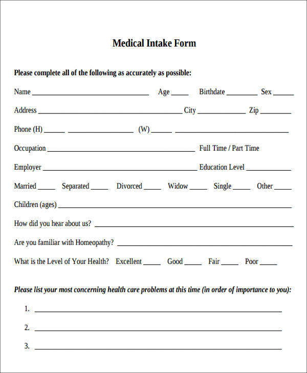 medical intake form in pdf