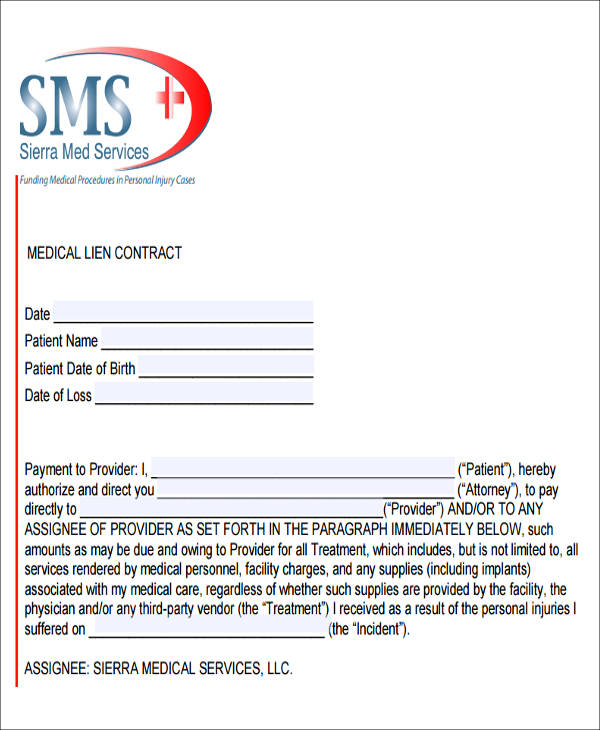 medical payment lien form