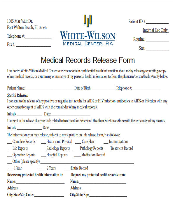 medical record release form in pdf
