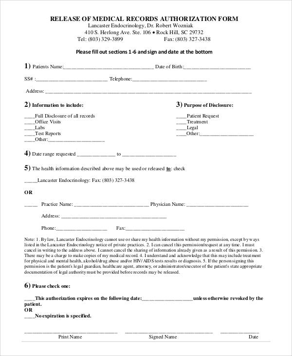 medical records authorization release form