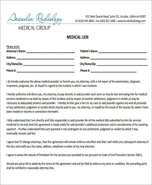 medical release of lien form