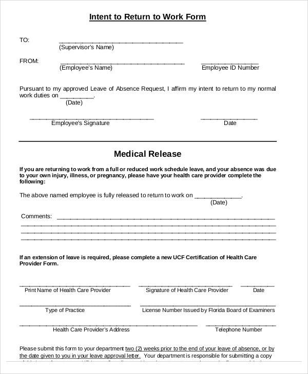 return to work medical form