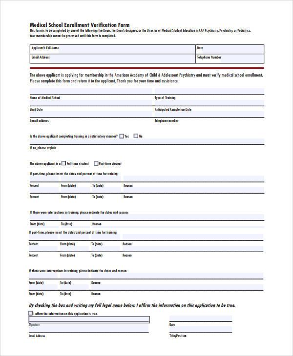 medical school enrollment verification form