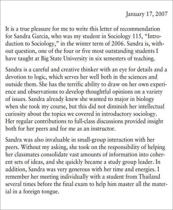 medical school recommendation letter for appendix g