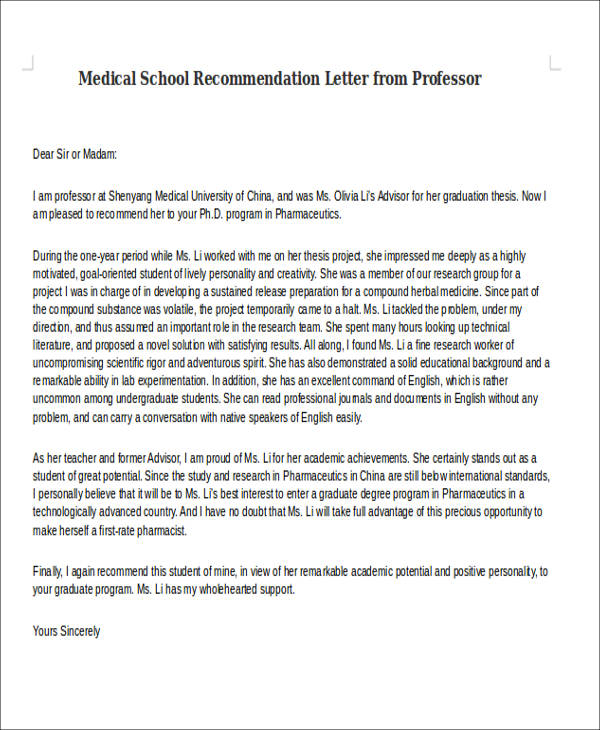 8 Medical School Recommendation Letter Free Sample Example